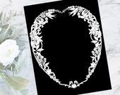 Vintage Heart Shaped Intricate White Border, Flowers, Hearts, & Birds | Valentine's Day Ornate Frame Vector Fancy Clip Art SVG PNG JPG