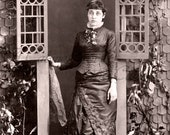 Antique Photo DOWNLOAD | Victorian Lady in Studio Cottage Doorway with Lace Handkerchief  | Woman embroidered skirt fashion digital