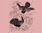 Victorian Chinese Embroidery Birds in Flight | Antique Bird Needlework Vector Clipart SVG PNG JPG | Vintage Clip Art Instant Download