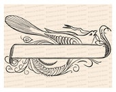 Fancy Blank Banner with Bird Vector Clip Art | Victorian Penwork Flourishing | Digital Instant Download SVG PNG JPG