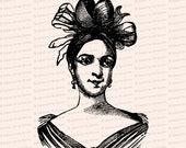 Edwardian Depiction of a Vintage Georgian Hairstyle | Antique Woman, Mademoiselle Damoreau Cinti | Vector Clipart SVG PNG JPG