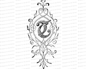 Ornamental Penwork Initial Letter T Vector Clipart  | Vintage Victorian Capital Letter T, Fancy Antique Monogram SVG PNG JPG