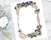Vintage Floral Border with Pansies | Antique Color Flower Frame Victorian Vector Fancy Wedding Viola Cutouts SVG PNG JPG