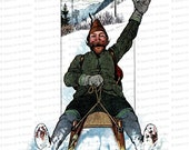 Vintage Edwardian Sledding Man  | 1900s Bearded Man on Sled Color Winter Clipart Instant Download PNG JPG