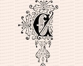Ornamental Penwork Initial Letter C Vector Clipart  | Vintage Victorian Capital Letter C, Fancy Antique Monogram SVG PNG JPG