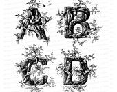 Victorian Rustic Penwork Alphabet Vector Clip Art  | Vintage 1880s Ornamental Letters Trees & Birds | Calligraphy Capitals SVG PNG