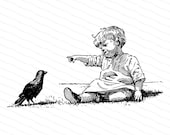 Victorian Pointing Toddler with Bird | Seated Child | Antique Children Vector Clipart Instant Download SVG PNG JPG