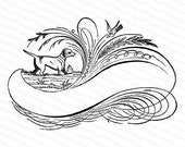 Fancy Blank Banner with Dog Vector Clip Art | Victorian Penwork Flourishing | Digital Instant Download SVG PNG JPG