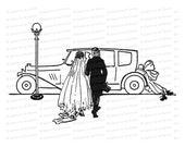 Vintage 1920s Bride and Groom with Honeymoon Car, Shoes | Wedding Vector Clip Art SVG PNG JPG
