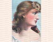 Vintage Pretty Edwardian Lady with Blue Eyes | Color Clipart Antique Woman Instant Download PNG JPG