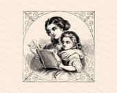 Vintage Victorian Mother Reading to Daugher | Mother & Child | Vector Clipart Instant Digital Download SVG PNG JPG