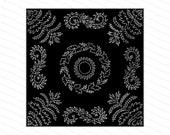 Vintage Victorian Filigree Leaves Square Pattern | Antique Decorative Square Element Vector Clipart | Botanical Foliage Tile SVG PNG JPG