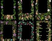 Garden Cherubs Color Floral Borders Bundle  | 6 Printable Valentine's Frames | Vector Flowers Cherubs Cupids Romance Wedding SVG PNG JPG