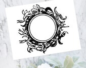 Vintage Lily Floral Border Vector Clipart | Antique Victorian Round Frame Lilies | Instant Download SVG PNG JPG