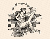 Victorian Seated Lady in Grecian Dress Writing or Drawing | Antique Woman Scribe with Flowers Vector Clipart Instant Download SVG PNG JPG