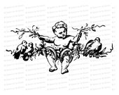 Vintage Cherub with Birds and Wedding Rings   Antique Victorian Wedding Clipart   Vector Romantic, Engagement, Flowers SVG PNG JPG