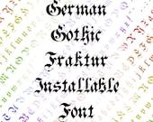 Victorian German Gothic Fraktur Installable Font  | Vintage Hand-Drawn Penwork Uppercase & Lowercase Letters, Punctuation OTF TTF