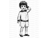 Vintage Boy wearing Romper   Edwardian Toddler   Antique Children Vector Clipart Instant Download SVG PNG JPG
