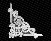 Vintage Victorian White Lace Corner Embellishment | Antique Decorative Netting Fancy Work Design Element Vector Clipart | SVG PNG JPG