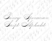 Spencerian Penwork Alphabet Vector Clipart Letters  | Vintage Victorian Ornamental Cursive Script Uppercase, Lowercase | Calligraphy SVG PNG
