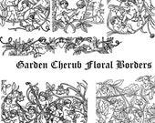 Garden Cherubs Vintage Floral Borders Bundle  | 6 Antique Valentine's Frames | Vector Flowers Cherubs Cupids Romance Wedding SVG PNG JPG