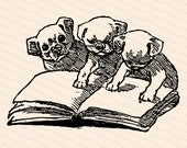Victorian Puppies with Book Clipart | Vintage Reading Dogs | Antique Vector SVG PNG JPG Digital Download