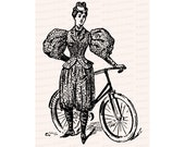 Victorian Lady Cyclist in Bloomers | Woman in Rational Dress / Pants with Bicycle | Instant Download Feminist Vector Clip Art SVG PNG JPG