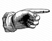 Vintage Victorian Hand with Pointing Finger | 1870s Antique Hand Vector Clipart | Instant Digital Download SVG PNG JPG