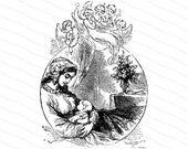 Vintage Victorian Angels Admiring Mother and Child | Mother & Baby | Vector Clipart Instant Digital Download SVG PNG JPG