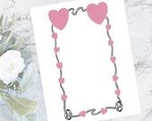 Vintage Hearts, Ribbon, & Rings Border | Antique Edwardian Valentine's Day / Wedding Frame | Vector Romantic Clip Art SVG PNG JPG Color