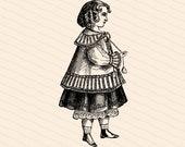 Vintage Little Girl in Fancy Jacket   Victorian Child Vector Clipart Instant Download SVG PNG JPG