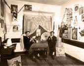 Antique Photo DOWNLOAD | Unusual Edwardian College Musicians in Dorm Room | trumpet trombone horns instrument men musical students