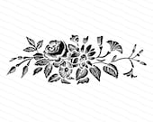 Victorian Flowers | Antique Vintage 1870s Floral Embellishment | Rose Morning Glory Daisy Vector Clip Art Instant Download PNG JPG SVG