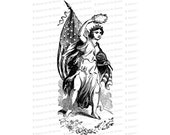 Victorian Columbia | Woman, United States Flag and Laurel | American Patriotic Lady Liberty Vector Clip Art SVG PNG JPG Digital