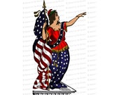 Color Victorian Columbia | Woman, United States Flag and Laurel | American Patriotic Lady Liberty Vector Clip Art SVG PNG JPG Digital