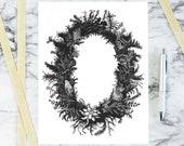 Vintage Moss & Grasses Wreath | Antique Botanical Border Moss, Grass | Victorian Vector Wreath, Wedding SVG PNG JPG