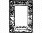 Vintage Victorian Christmas Border | Antique Hark the Herald Angels Sing Frame | Snow, Star, Mistletoe Vector Winter Clipart PNG JPG SVG