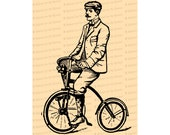 Digital Vintage Victorian Gentleman on Bicycle |  Antique Man on Bike Illustration Instant Download | Cycling Vector Clipart SVG PNG JPG