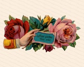 Victorian Die Cut Hand w/ Hope Sustain Thee Ever & Roses Shabby Chic Vector Clip Art | Vintage Antique Floral Flowers Comfort SVG PNG JPG