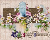 "Antique Postcard DOWNLOAD | Vintage Edwardian ""A Happy Birthday"" with Pastel Flowers png jpg digital download"