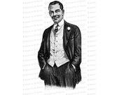 Vintage Smiling Clean-cut Man with Hands in Pocket | Antique Friendly Man Vector Clipart Instant Download SVG PNG JPG