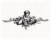 Vintage Cherub with Wedding Rings | Antique Victorian Wedding Clipart | Vector Romantic, Engagement, Flowers SVG PNG JPG