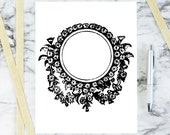 Vintage Daisy Floral Border Vector Clipart | Antique Victorian Round Frame Daisies | Instant Download SVG PNG JPG
