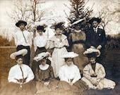 Antique Photo DOWNLOAD | Group of Edwardian Teenagers BIG Hats | vintage teens girls boys men women instant art digital gallipolis png jpg