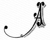 Ornamental Penwork Initial Letter A Vector Clipart  | Vintage Victorian Capital Letter A, Antique Monogram SVG PNG JPG