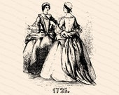 Victorian Depiction of Vintage Georgian Era Ladies Costumes | Antique Women, 18th Century Fashion 1720s | Vector Clipart SVG PNG JPG