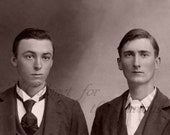 Antique Photo DOWNLOAD | Two Clean Cut Young Edwardian Men | suits ties handsome photograph picture digital png jpg