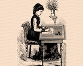 Digital Vintage Seated Victorian Woman Writing Letter at Desk | Vector Clipart Instant Download SVG PNG JPG