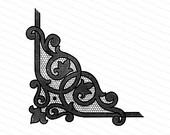 Vintage Victorian Black Lace Corner Embellishment | Antique Decorative Netting Fancy Work Design Element Vector Clipart | SVG PNG JPG