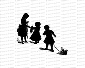 Digital Vintage Silhouetted Children | Victorian Children with Toys in Silhouette Vector Clipart Instant Download SVG PNG JPG